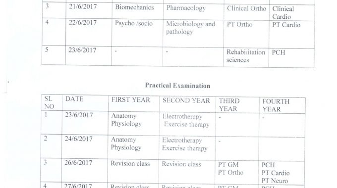 Internal Assesment Exam Schedule